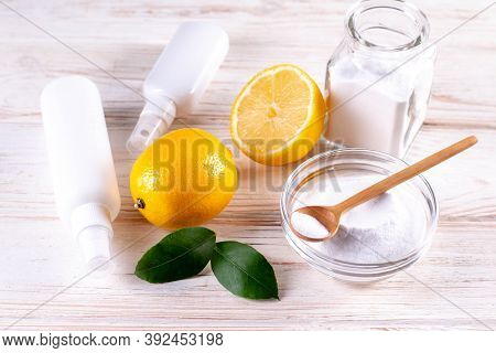 Eco Friendly Natural Cleaners. Home Cleaning Concept. Baking Soda, Lemon, Vinergar And Salt.