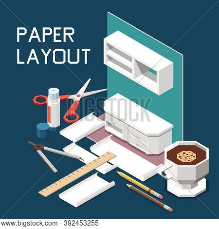 Carpentry Furniture Production Isometric Composition With Kitchen Cabinets Design 3d Paper Layout Sc