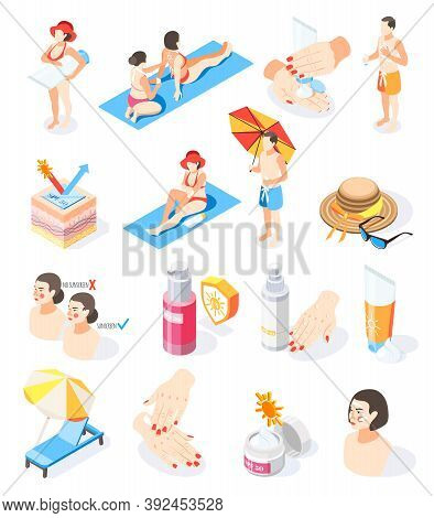 Sunscreen Isometric Icons Collection With Isolated Images Of Sunburn Creams Spray And Human Characte