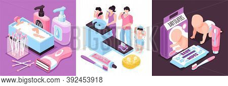 Isometric Hygiene Design Concept With Human Characters Of Babies And Adults With Medical Products Pe