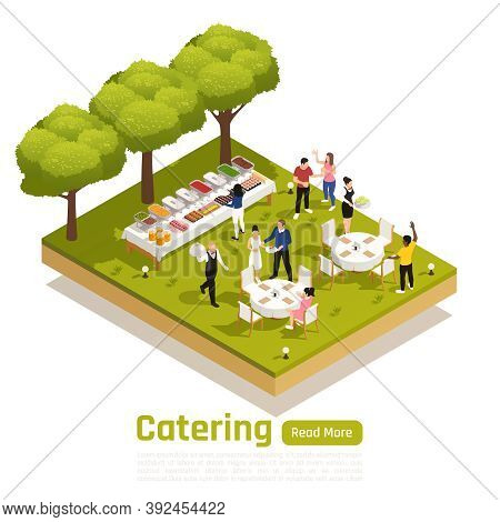 Special Occasions Corporate Barbecue Outdoor Catering Service Website Isometric Element With Natural