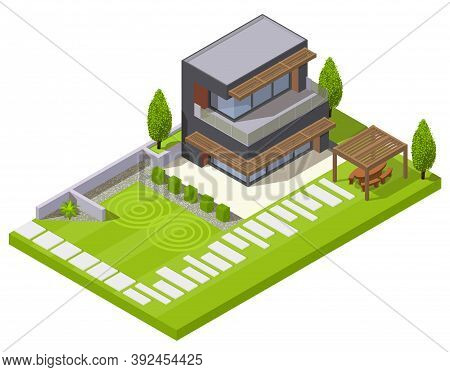 Landscape Design Isometric Composition Of Residential Yard With Lawn Plants Stone Hedge And Modern H