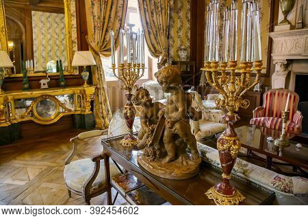 France, Bordeaux, May, 19, 2019 - Luxurious Golden Baroque Interior In Chateau De Mirambeau. Luxury