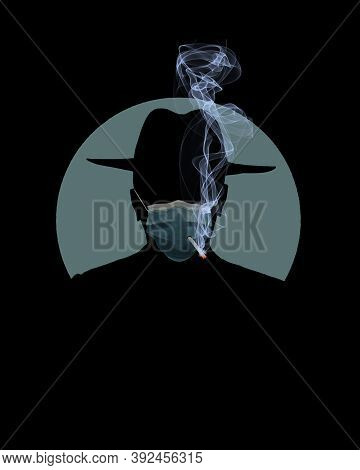 A Man In A Fedor Smokes A Cigarette Through A Hole In His Surgical Mask That He Is Wearing For Prote