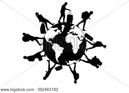 Group Of Tourists With Suitcases, Backpacks, Walking Around The World. Silhouettes Of People Going O