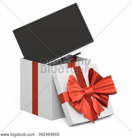 Modern Tv Set Inside Gift Box, Present Concept. 3d Rendering Isolated On White Background