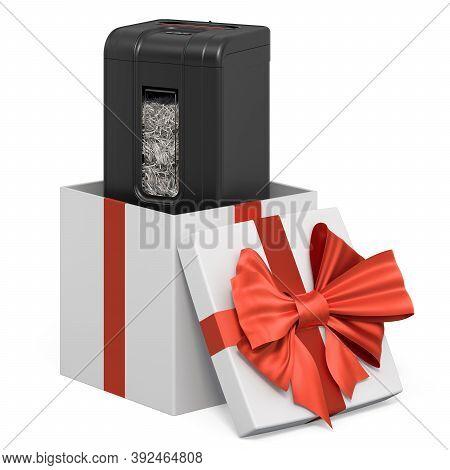 Paper Shredder Inside Gift Box, Present Concept. 3d Rendering Isolated On White Background