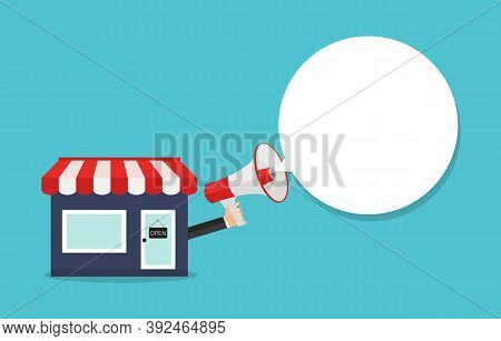 Small Business Mouthpiece. Shop And Hand With Megaphone Concept. Vector Illustration