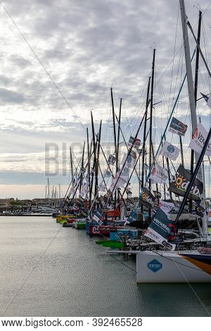 Les Sables D'olonne, France - October 19, 2020:  Monohulls On The Pontoon For The Vendee Globe 2020