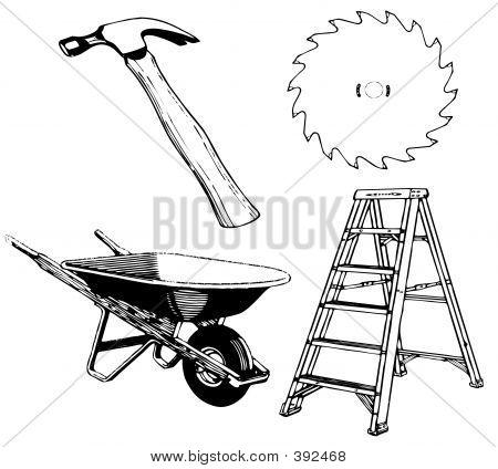Tools - Hammer Ladder Sawblade Wheelbarrow With Working Paths 20