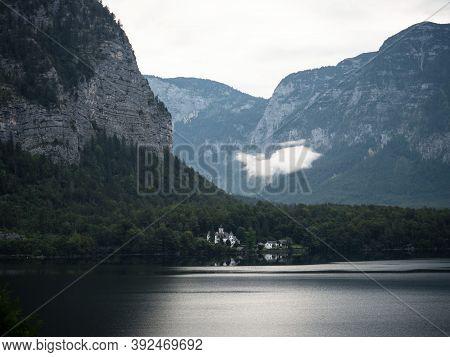 Lakeside Castle Schloss Grub Across Lake Hallstatt Near Gmunden In Upper Austria