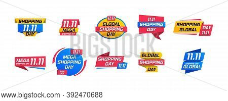 Shopping Day Sale Poster Or Flyer Design Isolated On White Background. Special Offer, Big Sale, Clea