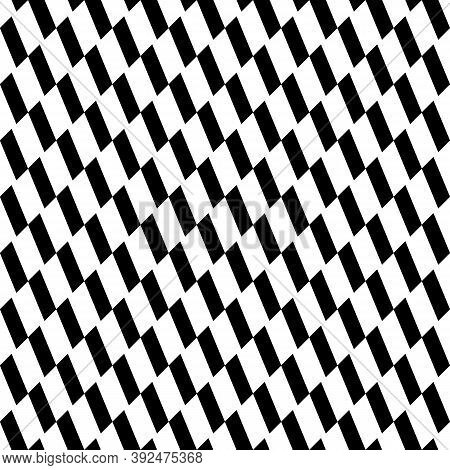 Repeated Black Slanted Mini Strokes On White Background. Seamless Surface Pattern Design With Polygo