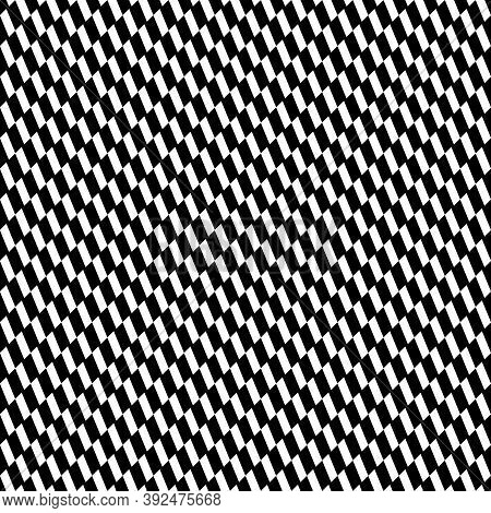 Repeated White Slanted Mini Strokes On Black Background. Seamless Surface Pattern Design With Polygo