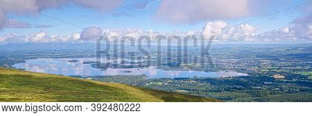 Panoramic View Of Lough Leane With Ross Island  On A Sunny Foggy Summer Morning. Killarney National