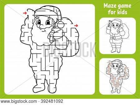 Abstract Maze. Game For Kids. Puzzle For Children. Labyrinth Conundrum. Christmas Theme. Find The Ri