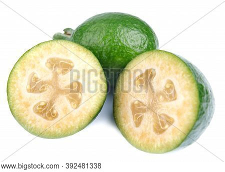 Fresh Green Feijoa On A White Background, Isolated. Tropical Fruit Feijoa Whole And Half