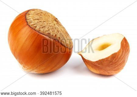 The Solid Hazelnut And Half Of The Hazelnut Core Are Isolated On A White Background.