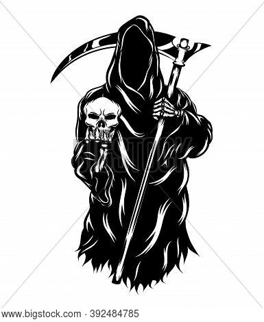 The Grim Reaper Holding The Head Skull Without The Face