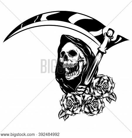 The Grim Reaper With The Beautiful Flowers As The Border