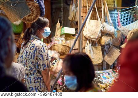 Loei Chiang Khan  Thailand-18 October 2020: Chiang Khan Walking Street Offers A Variety Of Products