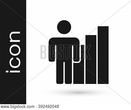 Grey Productive Human Icon Isolated On White Background. Idea Work, Success, Productivity, Vision An