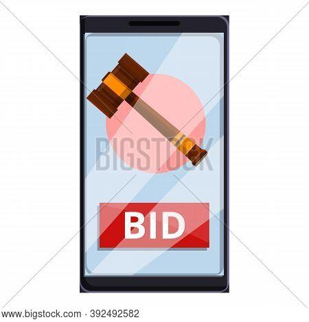 Smartphone Auction Bid Icon. Cartoon Of Smartphone Auction Bid Vector Icon For Web Design Isolated O