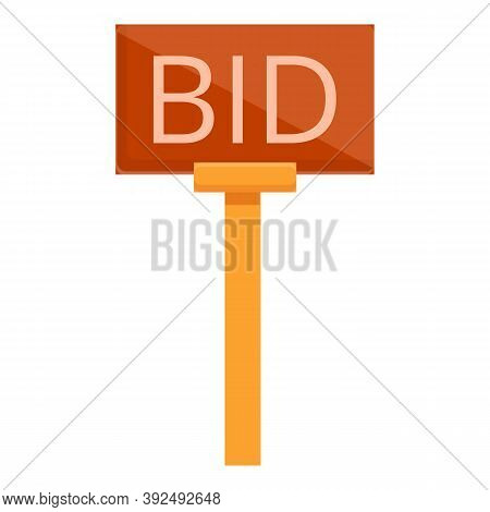 Bid Wood Banner Icon. Cartoon Of Bid Wood Banner Vector Icon For Web Design Isolated On White Backgr