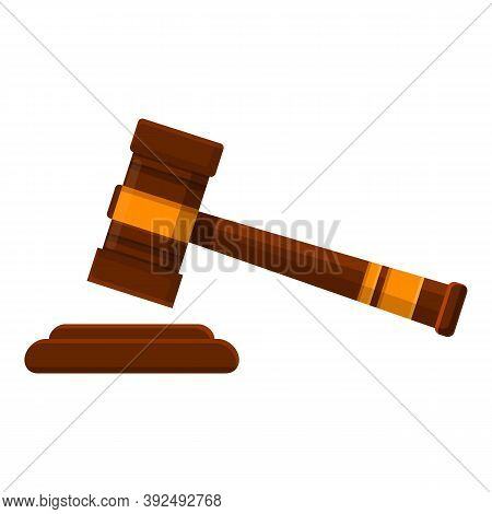 Auction Gavel Icon. Cartoon Of Auction Gavel Vector Icon For Web Design Isolated On White Background