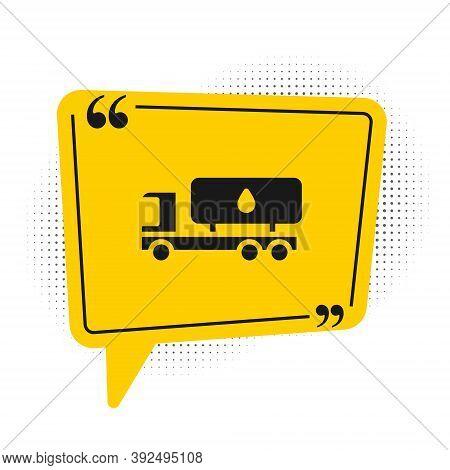 Black Tanker Truck Icon Isolated On White Background. Petroleum Tanker, Petrol Truck, Cistern, Oil T