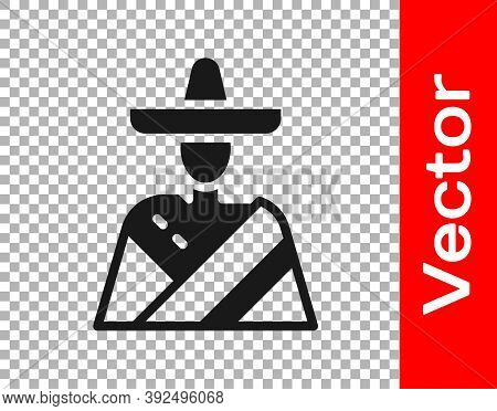 Black Mexican Man Wearing Sombrero Icon Isolated On Transparent Background. Hispanic Man With A Must