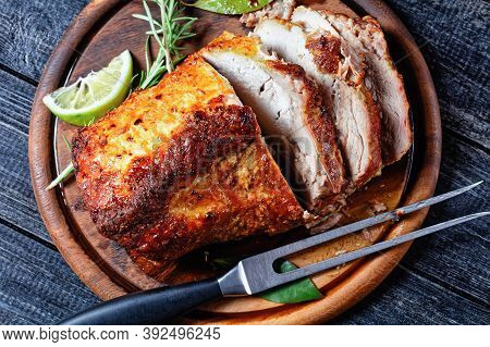 Sunday Roasted Pork Tenderloin, Juicy And Succulent Oven-baked Piece Of Meat Rubbed With Mustard And