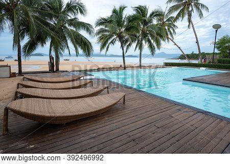 Ranong, Thailand - September 20, 2020 : The Swimming Pool View At Koh Phayam Island, Ranong Province