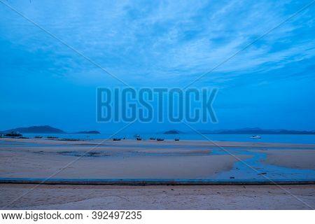 Ranong, Thailand - September 20, 2020 : Sunset Beautiful View Of Tropical Beach Scenery At Koh Phaya