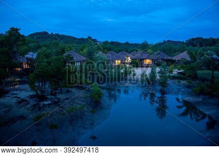 Ranong, Thailand - September 21, 2020 : Blue Sky Resort In Mangrove Forest At Koh Phayam Island, Ran