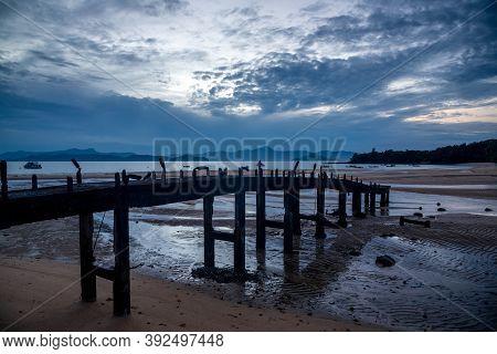 Ranong, Thailand - September 21, 2020 : A Beautiful View Of Tropical Beach With Bridge At Koh Phayam