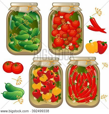 Color Image Of Jars Of Marinated Vegetables. Pickles. Cans Of Pickled Tomatoes, Cucumbers And Pepper