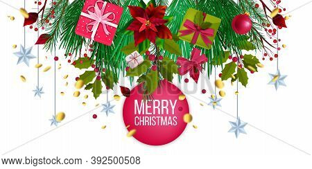 Winter Christmas Sale Offer Banner With Fir Branches, Evergreen Plants, Gift Boxes, X-mas Decoration