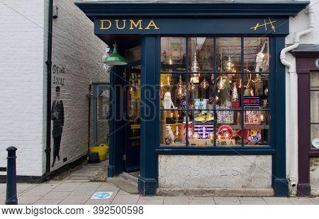 28 October 2020 - Whitstable Uk: Vintage Shopfront Of Store Selling Lighting