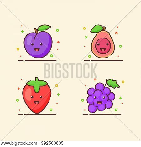 Fruit Icons Set Collection Plum Guava Strawberry Grape Cute Mascot Face Emotion Happy Fruit With Col