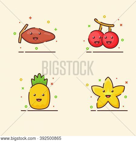 Fruit Icons Set Collection Date Palm Cherry Pineapple Starfruit Cute Mascot Face Emotion Happy Fruit