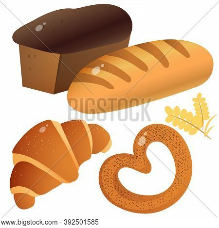Color Image Of Bread With Wheat Loaf, Puff Bun And Bagel With Poppy On White Background. Baked Goods