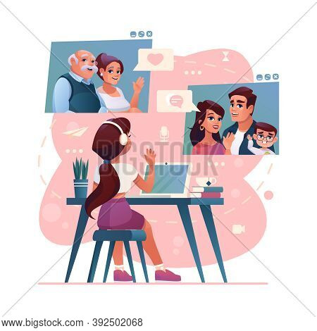 Video Call And Group Chat To Family And Friends On Computer, Cartoon Illustration. Girl Kid Chatting