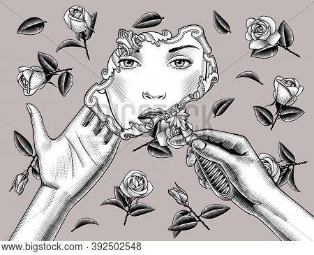 Female hands holding retro decorative mirror with reflection of woman face on background of roses. Vintage engraving stylized drawing