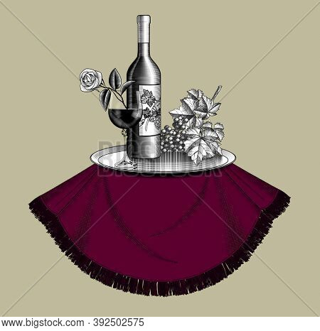 Bottle of wine with a glass, bunch of grapes with leaves, metal tray on a round table and red table cloth. Vintage engraving stylized drawing. Restaurant menu template