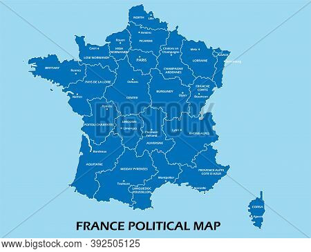 France Political Map Divide By State Colorful Outline Simplicity Style. Vector Illustration.