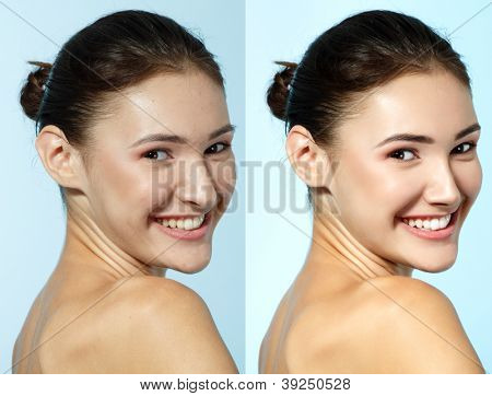 Retouch - face of beautiful young woman before and after retouch, over blue