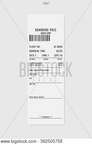 Airline Boarding Pass Ticket. White Boarding Pass Paper Sheet. Vector Illustration.