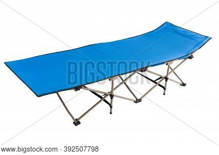 Blue New Cot For Camping Or Travel, On White Background