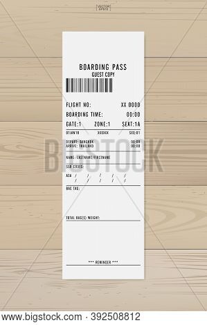 Airline Boarding Pass Ticket. White Boarding Pass Paper Sheet On Wood. Vector Illustration.